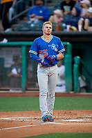 Gavin Lux (55) of the Oklahoma City Dodgers between innings against the Salt Lake Bees at Smith's Ballpark on July 31, 2019 in Salt Lake City, Utah. The Dodgers defeated the Bees 5-3. (Stephen Smith/Four Seam Images)