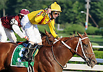 30 August 2008: Jockey Robby Albarado celebrates his win aboard Curlin in the Woodward Stakes at Saratoga Race Course in Saratoga Springs, New York.