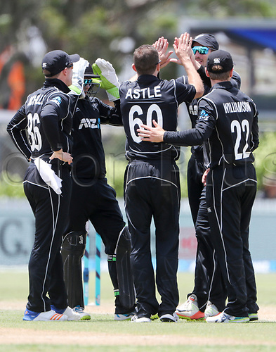 20th December, 2017, Whangarei, New Zealand;  New Zealand's Todd Astle celebrates a wicket. New Zealand Black Caps versus West Indies, first One Day International cricket, Cobham Oval, Whangarei, New Zealand. Wednesday, 20 December, 2017.
