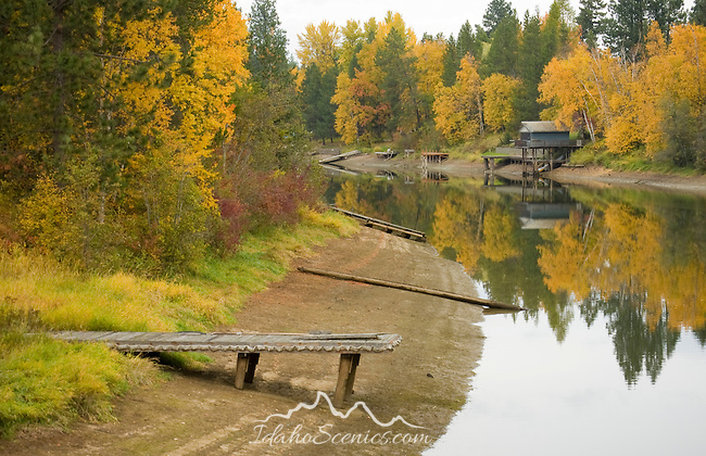 Docks and Boathouses on Sagle Slough left high and dry during autumn. Sandpoint, Idaho.
