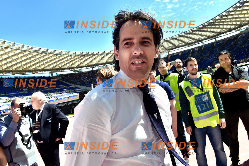 Simone Inzaghi Lazio Celebration at the end of the match <br /> Roma 30-04-2017 Stadio Olimpico Football Calcio Serie A 2016/2017 AS Roma - Lazio Foto Andrea Staccioli / Insidefoto