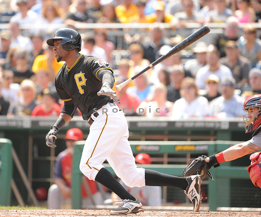 Pittsburgh Pirates Starling Marte (6) during a game against the St. Louis Cardinals on August 27, 2014 at PNC Park in Pittsburgh PA. The Pirates beat the Cardinals 3-1.