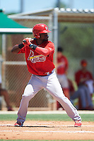 GCL Cardinals left fielder Luis Flores (50) at bat during the second game of a doubleheader against the GCL Marlins on August 13, 2016 at Roger Dean Complex in Jupiter, Florida.  GCL Cardinals defeated GCL Marlins 2-0.  (Mike Janes/Four Seam Images)