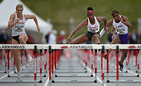NWA Democrat-Gazette/ANDY SHUPE<br /> Arkansas' Janeek Brown (center) leads Tonea Marshall of LSU and Payton Chadwick (left) as they compete Saturday, May 11, 2019, in the 100-meter hurdles during the SEC Outdoor Track and Field Championships at John McDonnell Field in Fayetteville. Visit nwadg.com/photos to see more photographs from the meet.