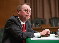 Office of Management and Budget Director Mick Mulvaney, who is also the Acting Director, Consumer Financial Protection Bureau, testifies before the United States Senate Committee on Banking, Housing, and Urban Affairs on the CFPBís Semi-Annual Report to Congress, on Capitol Hill in Washington, DC on Thursday, April 12, 2018. Photo Credit: Ron Sachs/CNP/AdMedia