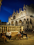 Evening, San Marko Plaza and Basilica, Venice, Italy