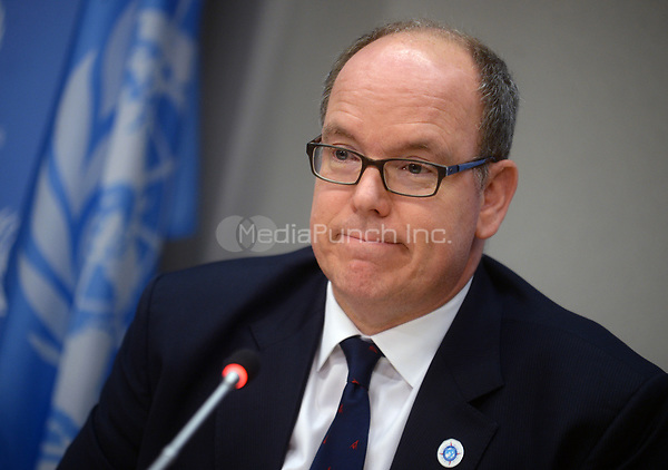 NEW YORK, NY - JUNE 7: Prince Albert II of the Principality of Monaco  briefs journalists on the Ocean Conference taking place at UN headquarters this week on June 7, 2017 at The United Nations in New York City. Credit: Dennis Van Tine/MediaPunch
