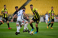 Wellington Phoenix&rsquo; Daniel Mullen and Melbourne Victory&rsquo;s Leigh Broxham in action during the A League - Wellington Phoenix v Melbourne Victory FC at Westpac Stadium, Wellington, New Zealand on Wednesday 10 January 2018. <br />