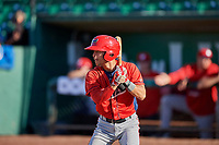Leonardo Rivas (1) of the Orem Owlz bats against the Ogden Raptors at Lindquist Field on September 10, 2017 in Ogden, Utah. Ogden defeated Orem 9-4. (Stephen Smith/Four Seam Images)