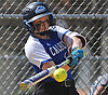 Heather Berberich #12, Calhoun shortstop, strokes a single to start the bottom of the third inning of a Nassau AA-I/AA-II crossover game against Baldwin at Calhoun High School on Saturday. April 14, 2018. Calhoun won by a score of 9-0.