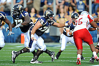 9 October 2010:  FIU offensive lineman Brad Serini (76) blocks in the second quarter as the FIU Golden Panthers defeated the Western Kentucky Hilltoppers, 28-21, at FIU Stadium in Miami, Florida.