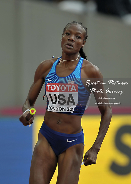 Shakima Wimbley (USA) in the womens 4 x 400m relay. IAAF world athletics championships. London Olympic stadium. Queen Elizabeth Olympic park. Stratford. London. UK. 12/08/2017. ~ MANDATORY CREDIT Garry Bowden/SIPPA - NO UNAUTHORISED USE - +44 7837 394578