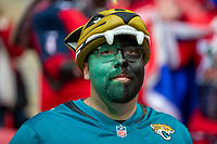 3rd November 2019; Wembley Stadium, London, England; National Football League, Houston Texans versus Jacksonville Jaguars; A Jaguars fan with his face painted - Editorial Use