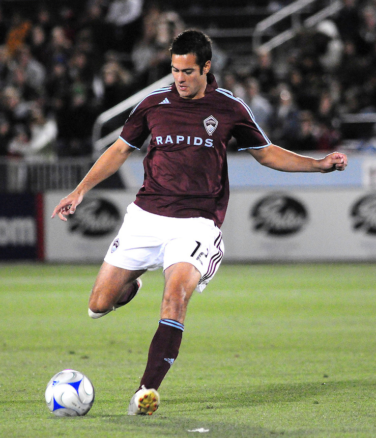25 October 08: Rapids defender Mike Petke (12) advances the ball against Real Salt Lake. Real Salt Lake tied the Colorado Rapids 1-1 at Dick's Sporting Goods Park in Commerce City, Colorado. The tie advanced Real Salt Lake to the playoffs.