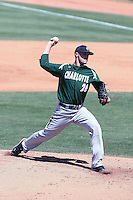Andrew Smith #21 of the Charlotte 49ers was the winning pitcher in a 3-2 victory against the Arkansas Razorbacks  in the opening game of the Tempe Regional of the NCAA baseball post-season at Packard Stadium on June 3, 2011 in Tempe, Arizona. .Photo by:  Bill Mitchell/Four Seam Images.