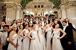 May0060348 . Daily Telegraph<br /> <br /> Debutantes striking a pose on the grand staircase at the Vienna Opera Ball all wearing tiaras by British jewellery designer Sean Leane in collaboration with Swarovski . <br /> Tickets to the ball start at &euro;270 and a box in the Opera House costs more than &euro;20,000.<br /> It is one of the most exclusive events in the Viennese social calendar and is always kicked off with 186 debutantes and their partners dancing the opening waltz but also attracts celebrities from across the globe .<br /> <br /> Vienna 12 Feb 2015