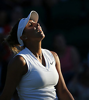 Madison Keys (USA) during her match against Polona Hercog (SLO) in their Ladies' Singles Second Round match<br /> <br /> Photographer Rob Newell/CameraSport<br /> <br /> Wimbledon Lawn Tennis Championships - Day 3 - Wednesday 3rd July 2019 -  All England Lawn Tennis and Croquet Club - Wimbledon - London - England<br /> <br /> World Copyright © 2019 CameraSport. All rights reserved. 43 Linden Ave. Countesthorpe. Leicester. England. LE8 5PG - Tel: +44 (0) 116 277 4147 - admin@camerasport.com - www.camerasport.com