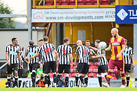 Jacob Murphy of Newcastle United  celebrates scoring with his  Newcastle United team mates during the pre season friendly match between Bradford City and Newcastle United at the Northern Commercial Stadium, Bradford, England on 26 July 2017. Photo by Thomas Gadd.