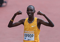 Asbel KIPROP of Kenya wins the EMSLEY CARR MILE in a time of 3.54.87 and smiles for the Cameras during the Sainsbury's Anniversary Games, Athletics event at the Olympic Park, London, England on 25 July 2015. Photo by Andy Rowland.