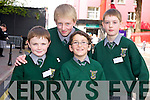Jake Doona, Ronan McClure, Cian O'Leary and Charlie Joy, The Mon school, Killarney, pictured as they waited for the arrival of President Michael D Higgins to Killarney on Saturday.