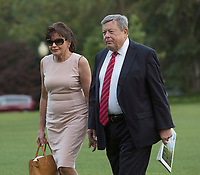 Viktor and Amalija Knavs, the parents of United States First Lady Melania Trump arrive with US President Donald J. Trump, Melania Trump and the Trump's, son Barron at the White House in Washington, DC, after a trip to New Jersey, June 11, 2017. Photo Credit: Chris Kleponis/CNP/AdMedia