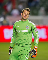 CARSON, CA - March 17, 2012: Chivas USA goalie Dan Kennedy (1) during the Chivas USA vs Vancouver Whitecaps FC match at the Home Depot Center in Carson, California. Final score Vancouver Whitecaps 1, Chivas USA 0.