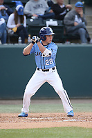 Paul Kunst (28) of the University of San Diego Toreros bats against the UCLA Bruins at Jackie Robinson Stadium on March 4, 2017 in Los Angeles, California.  USD defeated UCLA, 3-1. (Larry Goren/Four Seam Images)
