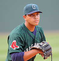 April 2, 2008: Infielder Manny Arambarris (16) of the Greenville Drive, Class A affiliate of the Boston Red Sox, during Media Day at Fluor Field at the West End in Greenville, S.C. Photo by:  Tom Priddy/Four Seam Images