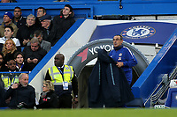 Chelsea Manager, Maurizio Sarri, grabs his coat in the second half during Chelsea vs Everton, Premier League Football at Stamford Bridge on 11th November 2018