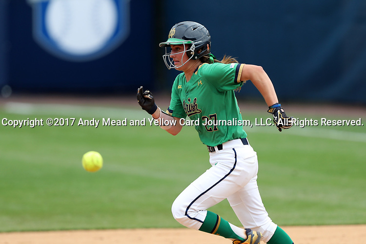 CHAPEL HILL, NC - MAY 11: Notre Dame's Katie Marino races towards second base. The #4 Boston College Eagles played the #5 University of Notre Dame Fighting Irish on May 11, 2017, at Anderson Softball Stadium in Chapel Hill, NC in a 2017 Atlantic Coast Conference Tournament Quarterfinal Softball game. Notre Dame won the game 9-5 in eight innings.