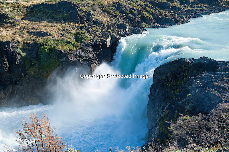 Rushing Salto Grande Waterfall in Torres del Paine National Park in Patagonia Chile