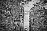A view of The Writers Museum in Edinburgh in B&W.