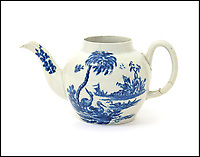 BNPS.co.uk (01202 558833)Pic: Woolley&amp;Wallis/BNPS<br /> <br /> A bargain-hunter is celebrating after a china teapot he bought on a whim for &pound;15 turned out to be the first one ever made in America and could be worth &pound;100,000.<br /> <br /> The porcelain vessel was produced by John Bartlam, a British potter who took his trade across the Atlantic in the mid-18th century.<br /> <br /> But Bartlam's enterprise was interrupted by the American Revolution and he returned to the UK. Hardly any examples of his work exist today.<br /> <br /> In 2013 a tea bowl made by him sold at auction for &pound;100,000. The matching blue and white pot could now sell for a similar sum when it sells at auction in Salisbury.