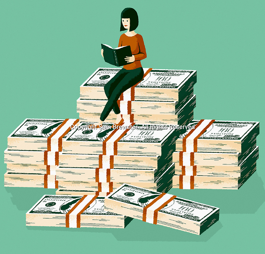 Wealthy woman reading book on top of piles of money