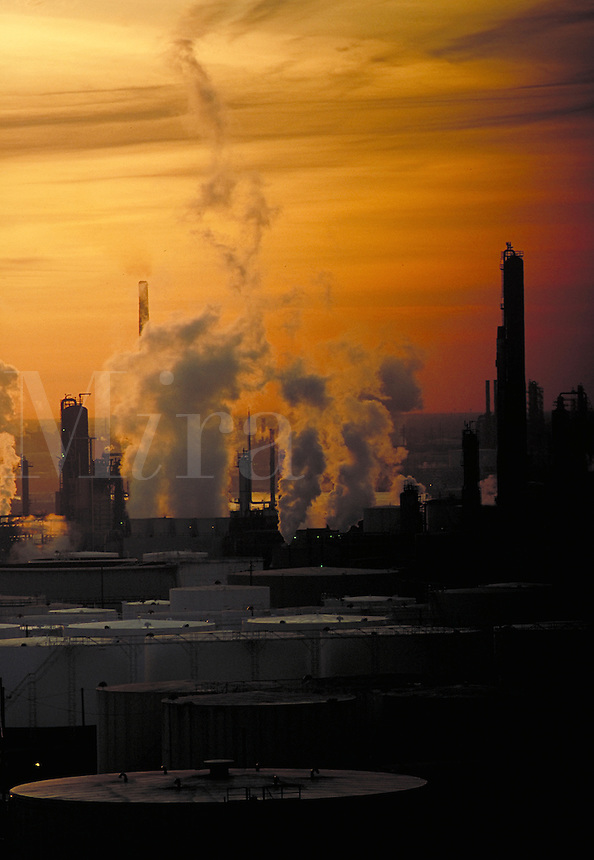 petrochemical zone of the Houston ship channel at sunrise