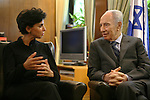 France's Justice Minister Rachida Dati  meets Israel's President Shimon Peres in Jerusalem September 21, Dati's visit to Jerusalem, Sunday, Sept. 21, 2008. Dati is on an official visit to Israel and the Palestinian Territories.Photo By: Jini  *** Local Caption *** ,