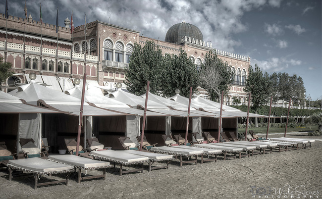 The magnificent beachside Excelsior Hotel on the island of Lido in Venice Italy