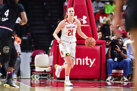 College Park, MD - NOV 13, 2017: Maryland Terrapins guard Sarah Myers (21) bring the ball up court during match up between No. 4 ranked South Carolina and the No. 15 Maryland Terrapins at the XFINITY Center in College Park, MD. The Gamecocks defeated Maryland 94-86.  (Photo by Phil Peters/Media Images International)