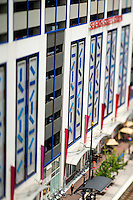 Photography of the Touch My Building at the  7th Street Parking deck in downtown Charlotte, North Carolina.<br /> <br />  The entire facade of the Bank of America's 7th Street Parking Deck is transformed by two principle visual elements. The first addresses the scale of the building—a syncopated pattern of 416 colored panels painted in custom automobile colors create a lively dynamic surface over the nine-story facade. Natural light is used with colored glass in both the stair tower and the cornice, creating strong.<br /> <br /> Charlotte Photographer -PatrickSchneiderPhoto.com