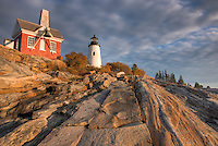 Pemaquid Point Lighthouse and bell house perched on fantastic rock formations, Bristol, Maine
