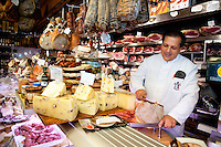Fine cheeses, cured meats, wine, olive oil and hand made pastas, just to name a few of the finest quality food products available at 'Volpetti' delicatessen, Testaccio district, Rome Italy