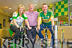 Patricia Kelly Branch Manager Tralee, Mikey Sheehy and Kieran Donaghy launch the Kerry to Donegal virtual cycle which takes place at the Ulster Bank in Ashe Street on Friday where celberites will cycle the 360 Kilometers distance from Kerry to Donegal on stationary bikes.