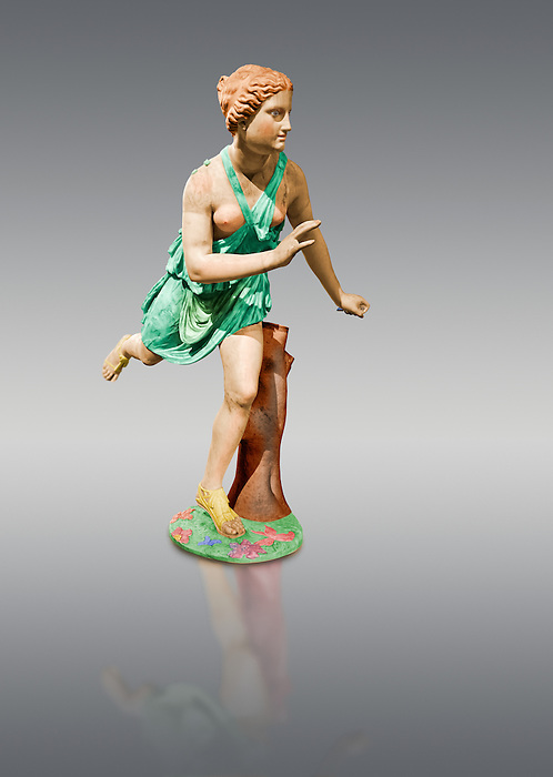 Painted colour verion of a Statue of  Atalanta a 2nd century Roman sculpture restored in the 17th century. Atalanta  is a character in Greek mythology, a virgin huntress, unwilling to marry, and loved by the hero Meleager.. The Mazarin Collection  Louvre Museum, Paris.
