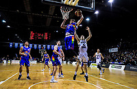 Tom Abercrombie takes a rebound during the National Basketball League match between Cigna Wellington Saints and Canterbury Rams at TSB Bank Arena in Wellington, New Zealand on Sunday, 23 June 2019. Photo: Dave Lintott / lintottphoto.co.nz