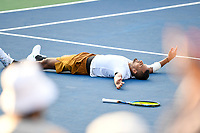 Washington, DC - August 4, 2019: Nick Kyrgios (AUS) falls to the ground in celebration after defeating Daniil Medvedev (RUS) to win the Men's finals of the Citi Open at the Rock Creek Tennis Center, in Washington D.C. (Photo by Philip Peters/Media Images International)