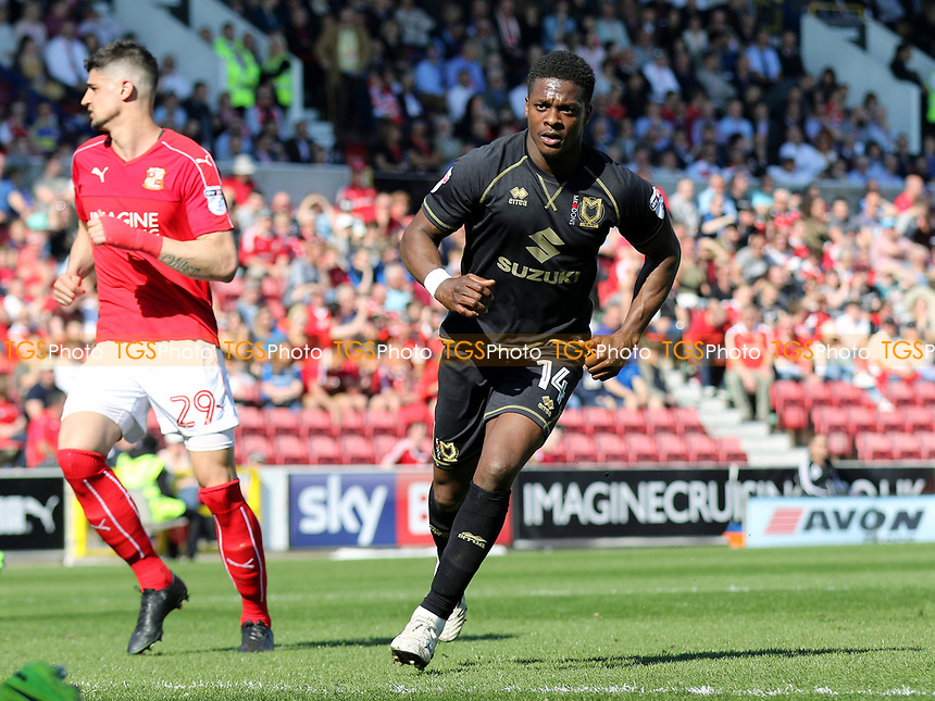 Kieran Agard scores MK Dons opening goal from the penalty spot and celebrates during Swindon Town vs MK Dons, Sky Bet EFL League 1 Football at the County Ground on 8th April 2017