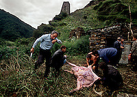 Pagan festivals, held annually, have Christian overtones.  There are no priests or working churches in the valleys.  Every village has an elder with priest-like powers.