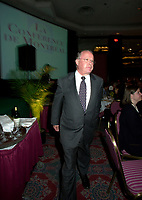 Montreal, April 18, 2001<br /> Quebec Premier ;  Bernard Landry get back to the head table after delivering his speech at the `` Conference of Montreal `` on economy globalization, Aptil 18, 2001 in Montreal, CANADA.<br /> Photo by Pierre Roussel /
