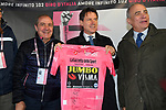 The Prime Minister Giuseppe Conte paid a visit to the Corsa Rosa today pictured holding the Maglia Rosa with Mauro Vegni Director of the Giro d'Italia at sign on before Stage 5 of the 2019 Giro d'Italia, running 140km from Frascati to Terracina, Italy. 15th May 2019<br /> Picture: Gian Mattia D'Alberto/LaPresse | Cyclefile<br /> <br /> All photos usage must carry mandatory copyright credit (© Cyclefile | Gian Mattia D'Alberto/LaPresse)