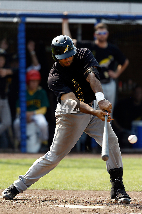 03 September 2011: Vince Rooi of L&D Amsterdam Pirates is seen at bat during game 1 of the 2011 Holland Series won 5-4 in inning number 14 by L&D Amsterdam Pirates over Vaessen Pioniers, in Hoofddorp, Netherlands.